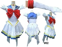 New style Sailor Moon Sailor Venus Minako Blue white short Dress #02 cosplay costume tailor made freeshipping