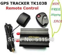 HOT GPS Car Tracker TK103B Remote Control SD Card Slot Quadband Car GPS Alarm Free 8 language GPS tracking System Free Shipping
