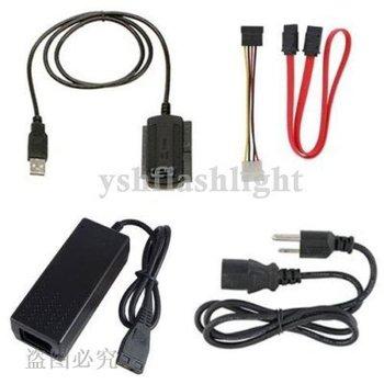 free shipping 1set USB 2.0 to IDE SATA S-ATA 2.5 3.5 HD HDD Adapter Cable