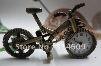 Free Shipping New Antique bronze Necklace Vintage Bike Quartz Pocket Watch With Chain