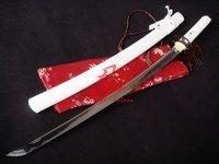 hand forged japanese white katana matrix tsuba sharpened blade can cut bamboo