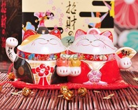 Chinese traditional Wedding gift & decor Sweety ceramic  Maneki Neko couples(Lucky cat) candy container ,innovation craft gift