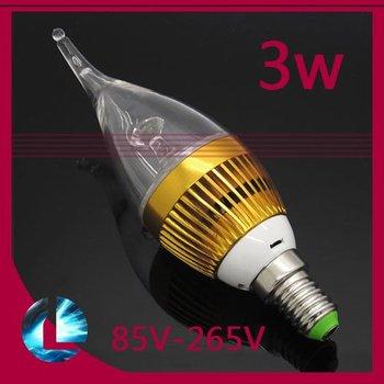10pcs/lot 3W E14/E27 LED Golden Candle Bulb Light , warm/cool white , AC 85-265V ,  taiwan chip beads Lamp, free shipping