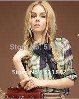 New style Personal Fashion women Clothing Brand joker grid women's shirt shirts d314b-2 1055#