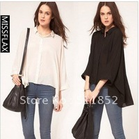New style Personal Fashion women Clothing Brand black and white colour women's shirt shirts d419-b  4132#