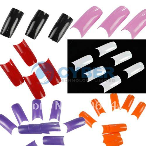 New 500 Clear Color Mix French Acrylic False Nail Art Tips 10 Size Black(China (Mainland))