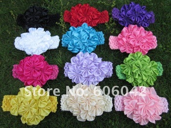 """12pcs/lot 12colors for your pick, 4.3""""-4.5"""" petti skirt flowers,satin flowers with Crochet headband"""
