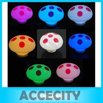 Free Shipping 6pcs/lot Mushroom 7-Color Changing LED Lamp Decor Night Light Christmas Xmas gift