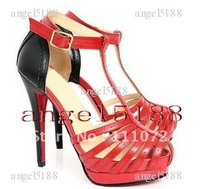 New style Free shipping red and black goatskin Women's high heel pumps shoes