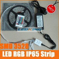 LED strips lights RGB  3528 Strip lights led 12v color changing with AC100-240V transformer and IR controller free ship