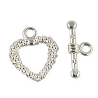 60Sets Silver Plate dotted heart toggle clasps A714SP