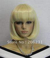 2012 New Styllish Wig-Super Natural Cheap Medium Straight Blonde Bob Wig (Free Shipping)