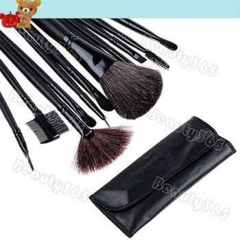 New Arrival! 12 PCS Makeup Brush Set with Black Leather Case Make Up Brushes 3070