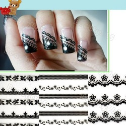 Super! 30 Sheet Lace 3D Nail Art Sticker Black Flowers Decal Manicure French Style Mix Flower 3073(China (Mainland))