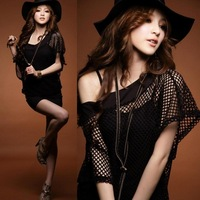 Free shipping 2013 new spring and summer women's plus size cutout slim hip sexy faux two piece set batwing shirt one-piece dress