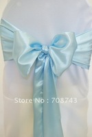 Free shipping -  baby blue   satin chair cover sash /satin sash