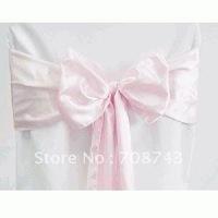 Free shipping -  baby pink satin chair cover sash /satin sash