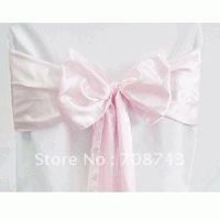 Free shipping -  baby pink satin chair cover sash /satin sash