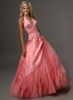 2012 new style! sexy halter organza beaded floor length ball gown prom dresses party dresses free shipping matching