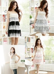 Free Shipping 2012 New Fashion Women's Sweet Halter Straps Skirt Vest Skirt Cotton Blended Lace Mini Chiffon Dress 4 Colors(China (Mainland))