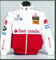 Wholesale cotton  motor jacket, winter coat For F1  Benz Santander in white & red color