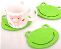 Free shipping 80pcs/lot Fashion cute Cup mat,Frog cup mat felt Coaster with Chinese character,wholesale price