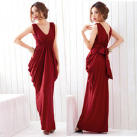 2013 Fashion wind star sexy V-neck lacing bow slim ultra long one-piece dress evening dress night club ,gown