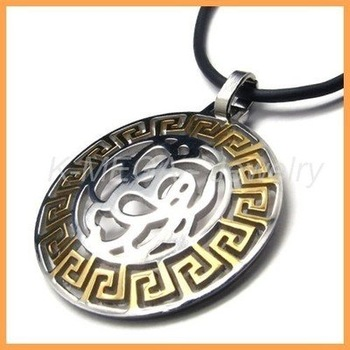 Stainless Steel Gold Pattern Mens Pendant Necklace 10018902