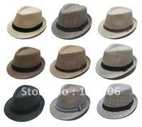 Men's Straw Fedora Hats Caps 2012 Spring Summer Fedoras Cap With Ribbon Coffee Black khaiki Mix