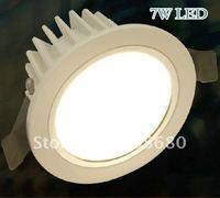 Freeshiping 7w LED Downlight LED ceiling,AC85~265V,560~700LM,AL+PMMA,White paint