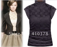 Free shipping 2012 fashion slim turtleneck lace elegant women's lace short-sleeve basic shirt spaghetti strap,black lace blouses