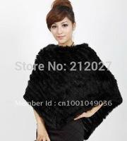 free shipping Genuine Rabbit fur poncho/Coat/outwear/garment lady/women OEM/whole sale/retail