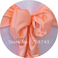 Free shipping -  peach satin chair cover sash /satin sash
