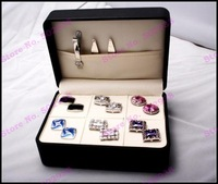 High Quality Jewelry Carrying Case Fit for 6 Pairs Cufflinks + 10 Pairs Clips Display Box freeshipping