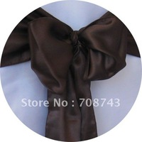 Free shipping -  chocolate  satin chair cover sash /satin sash
