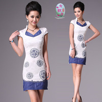 Free Shipping 2012 Summer fashion embroidery cheongsam,Chinese Dress Qi pao