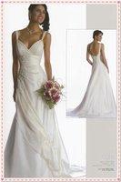 2012  popular wedding dresses Spaghetti satin lace-up full length beaded Draped wedding dresses free freight matchin