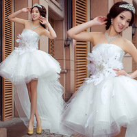 Siait yarn low-high sexy bride wedding dress formal dress