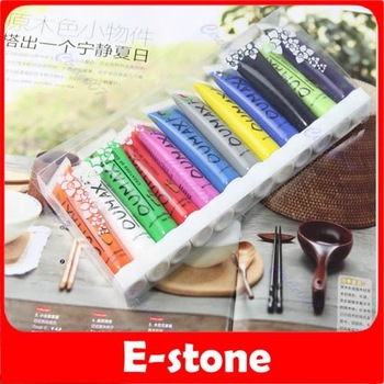 Free Shipping 12 Color Professional 3D Multi-surface Colorful nail art paint
