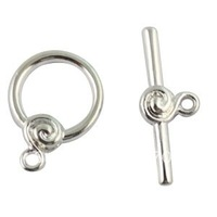 120Sets Silver Plate Spiral Circle toggle clasps A1708SP  FREE SHIPPING