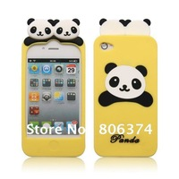 10pcs Good Quality Cute Bear Silicone Skin Case China Panda lovely for iPhone 4