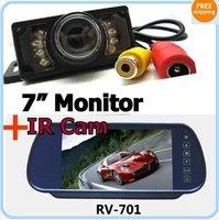 "Free Shipping!!DIY 7"" LCD Color Monitor Screen w/ Car IR night vision Rear view camera Cam"