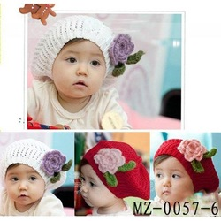 Fashionable baby crochet beret with flowers baby crochet beanies kids spring/autumn beret baby linecap baby hat MZ-0057(China (Mainland))
