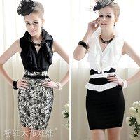 2012 summer exquisite wave ruffle sleeveless women shirt white S