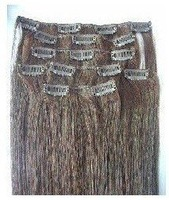 """low price 16"""" #2 120g jet black 100% real human hair clips in extensions real straight full head high quality"""