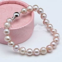 best buy beautiful 8-9mm purple fresh water akoya genuine pearl bracelets 7.5""