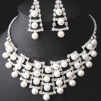 A001 Neckace earrings jewelry set Elegant Rhinestone Crystal    Wedding Bride Party  O-QXL052-13