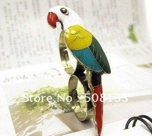 FREE SHIPPING Korean fashion rings,Wholesale  Jewelry -  color parrots double finger design rings 12pcs/lot