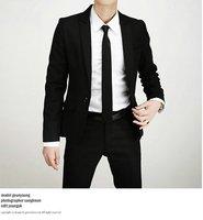 black Luxurious Muted Color Peak Lapel Center-vented Men slim fit Suits shiny 100% wool STRIPES FREE FAST SHIP & TIE SET