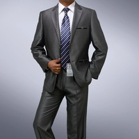Desinger Wool suit Custom made Men two botton jacket Flat front pants gray shiny 100% wool STRIPES FREE FAST SHIP & TIE SET